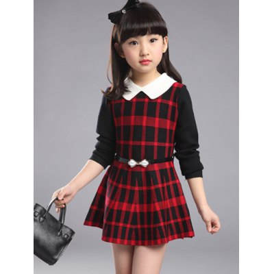 Belted Petal Collar Plaid Dress