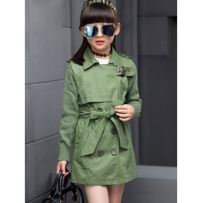 Splicing Turn Down Collar Belted Trench Coat