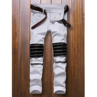 Multiple Zippers Embellished Jeans
