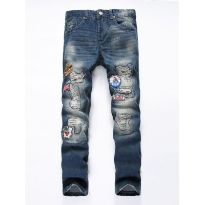 Zipper Fly Holes and Appliques Patch Design Jeans