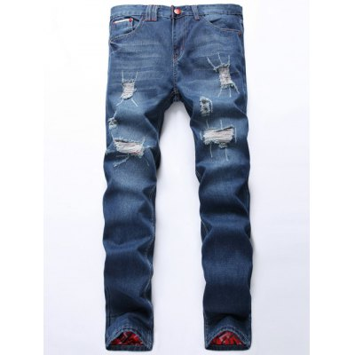 Zipper Fly Scratched Straight Leg Ripped Jeans