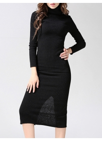 Knitted Back Slit Slimming Bodycon Dress