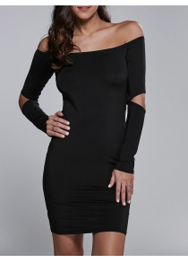 Off Shoulder Cut Out Short Cocktail Dress with Sleeves