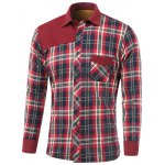 Tartan Spliced Design Turn-Down Collar Fleece Shirt