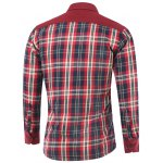 cheap Tartan Spliced Design Turn-Down Collar Fleece Shirt