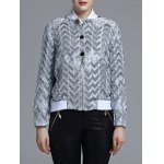 cheap Jacquard Geometric Zip-Up Jacket