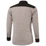 cheap Color Block Checked Pocket Design Turn-Down Collar Fleece Shirt