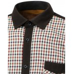 Color Block Checked Pocket Design Turn-Down Collar Fleece Shirt deal