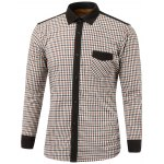 Color Block Checked Pocket Design Turn-Down Collar Fleece Shirt