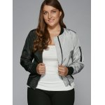 cheap Plus Size Color Block Bomber Jacket