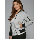 Plus Size Color Block Bomber Jacket deal