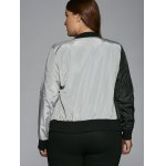Plus Size Color Block Bomber Jacket for sale