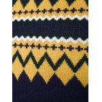 Crew Neck Color Block Geometric Knitwear deal