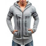 cheap Zip Up Hoodie with Zipper Letter Embellishment