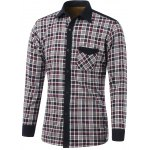 Color Block Tartan Pocket Design Turn-Down Collar Fleece Shirt