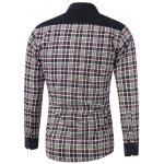 cheap Color Block Tartan Pocket Design Turn-Down Collar Fleece Shirt