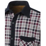 Color Block Tartan Pocket Design Turn-Down Collar Fleece Shirt deal