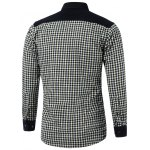 cheap Color Block Plaid Pocket Spliced Turn-Down Collar Fleece Shirt