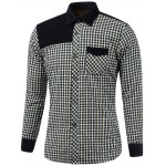 Color Block Plaid Pocket Spliced Turn-Down Collar Fleece Shirt