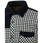Color Block Plaid Pocket Spliced Turn-Down Collar Fleece Shirt deal