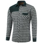 Color Block Checked Pocket Spliced Turn-Down Collar Fleece Shirt
