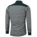 cheap Color Block Checked Pocket Spliced Turn-Down Collar Fleece Shirt