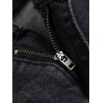 Zippered Rivet Embellished Printed Ripped Jeans for sale