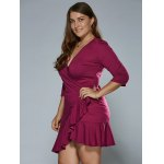Autumn Lace-Up Flounced Wrap Dress for sale