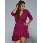 Autumn Lace-Up Flounced Wrap Dress deal
