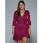 cheap Autumn Lace-Up Flounced Wrap Dress