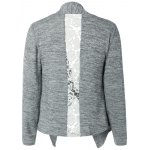 Collarless Lace Spliced Asymmetric Cardigan for sale