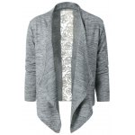 Collarless Lace Spliced Asymmetric Cardigan deal