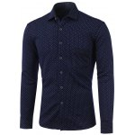 Polka Dot and Flower Print Turn-Down Collar Fleece Shirt