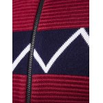 Crew Neck Waviness Knitting Splicing Zip-Up Cardigan for sale