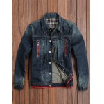Zippered Button Up Contrast Trim Denim Jacket for sale