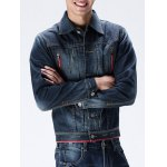 cheap Zippered Button Up Contrast Trim Denim Jacket