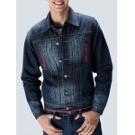 Zippered Button Up Contrast Trim Denim Jacket