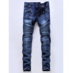 Skinny Mid Waisted Zip Fly Moto Jeans
