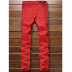 cheap Multi-Pocket Zippered Ribbed Insert Jeans