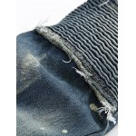 Scratched Straight Leg Frayed Biker Jeans for sale