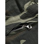 best Zippered Multi-Pocket Ribbed Insert Camo Jeans