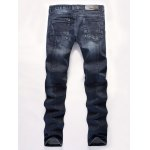 cheap Zip Fly Applique Design Distressed Jeans