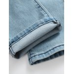 Zip Fly Beam Feet Distressed Jeans for sale