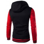 cheap Hooded Stripe Rib Splicing Single-Breasted Drawstring Hoodie