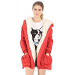 cheap Fake Fur Drawstring Warm Hooded Coat