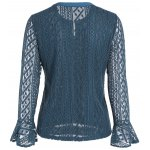 cheap Keyhole Metal Button Embellished Lace Bell Sleeve Blouse