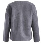 cheap Faux Leather Collarless Jacket