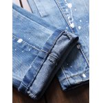 best Paint Splatter Print Patched Frayed Ripped Jeans