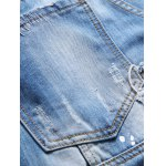 Paint Splatter Print Patched Frayed Ripped Jeans photo