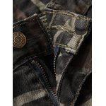 Zipper Fly Camouflage Moto Pockets Design Jeans deal